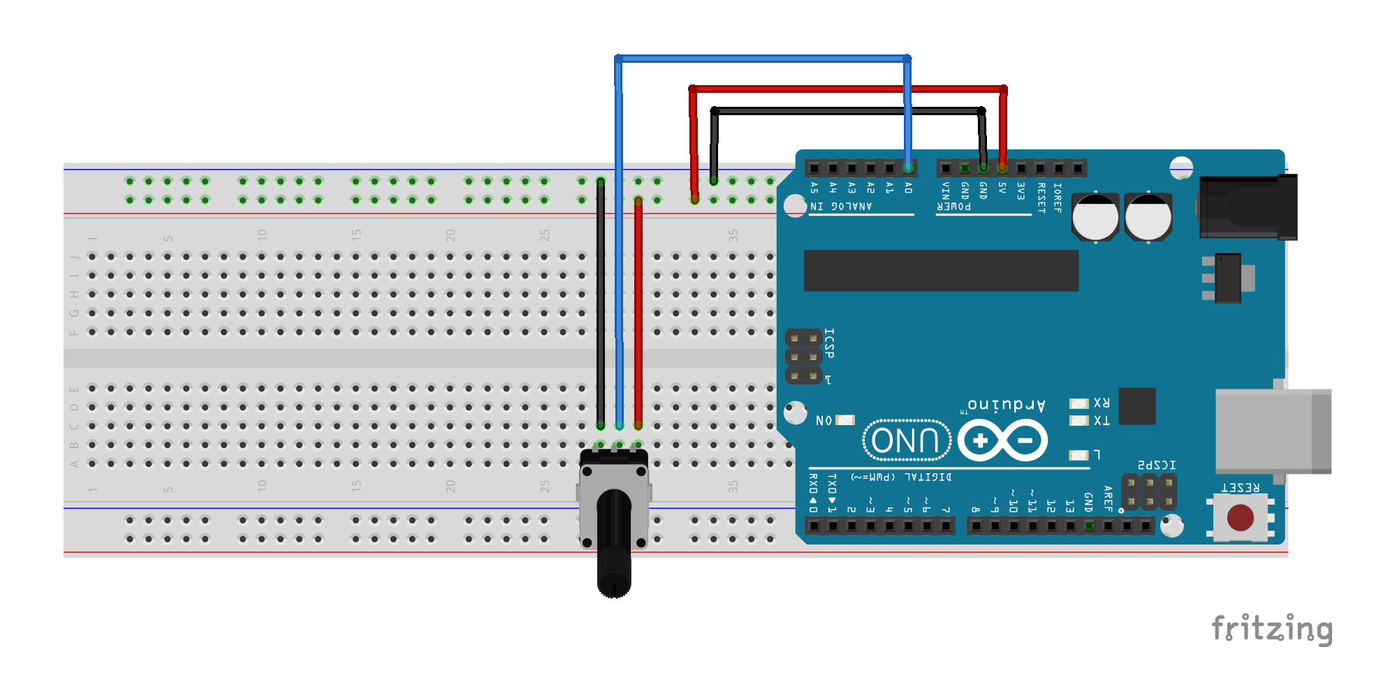 Arduino and Potentiometer Fritzing File Sketch 06a