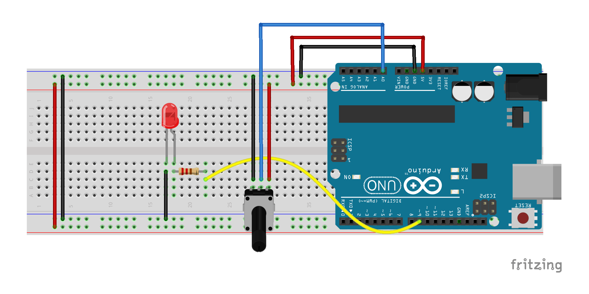 Arduino and Potentiometer Fritzing File Sketch 06b
